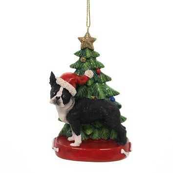 Holiday Ornaments DOG W/CHRISTMAS TREE Pet Pup Best Friend C7615 Boston Terrier
