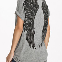 Grey Wing Printed Back Short Sleeve T-Shirt