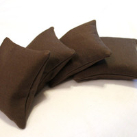 Bean Bags Upcycled Chocolate Brown Denim Children's Toy Homeschool (set of 4) - US Shipping Included