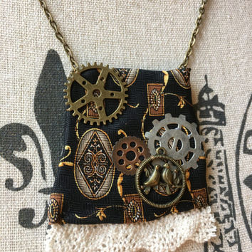 Gear Necklace Steampunk Jewelry Upcycled Necktie Gift Mechanical Industrial Pendant Necklace Urban Cosplay Geek Fandom Clock Cogs Nerd