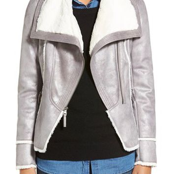 GUESS Asymmetrical Faux Shearling Jacket | Nordstrom