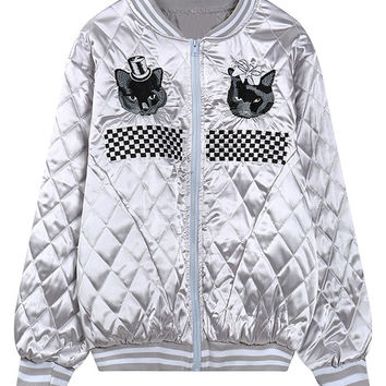Silver Cute Cat And Check Embroidery Quilted Bomber Jacket