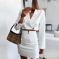 Women Fashion Stripe Long Sleeve Lapel Short Suit Coat Short Skirt Set Two-Piece
