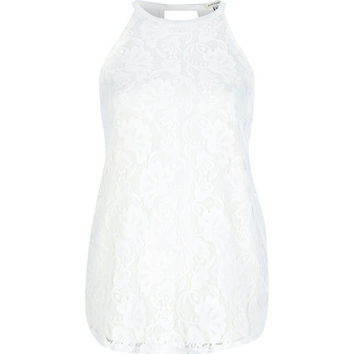 River Island Womens Cream lace racer front top