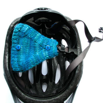 Bike Helmet Ear Warmers Teal With Blue Buttons by GretaHoneycutt