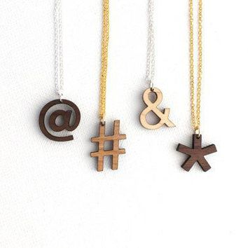 Valentines Day Etsy Custom Symbol Necklace   Laser Cut Wooden Modern Symbols Typographic Jewelry For Her For Him