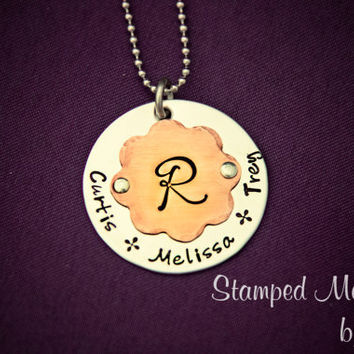 Love Blooms - Hand Stamped Family Necklace - Stainless Steel and Copper Pendant - Personalized Names and Initial