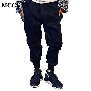 MCCKLE Brand Designer Mens Harem Biker Sweatpants Elastic Cuff Drop Crotch Drawstring Biker  Pants Men Black Khaki Plus Size