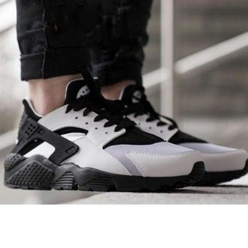 """NIKE""AIR Huarache Running Sport Casual Shoes Sneakers White + light grey+black H"