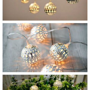 Moroccan Lantern Ball Set of 10 Light String Ornaments