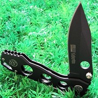 Black Ninja SR Liner Lock Tactical Pocket Folding Knife with Sheath, Fishing Hunting Camping Outdoor Survival Gear, Black