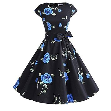 Vintage Inspired Cap Sleeve Dress, Size XS - 3XL, Blue Black Floral