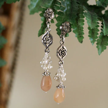 Peach and Pearl Earrings, Long Dangling Earrings, Moonstone Earrings, Summer Earrings, Pastel Earrings, Mother's Day, Dressy Earrings