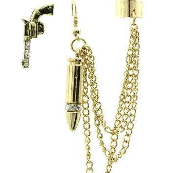Clear Gun And Bullet Metal Cuff Earring