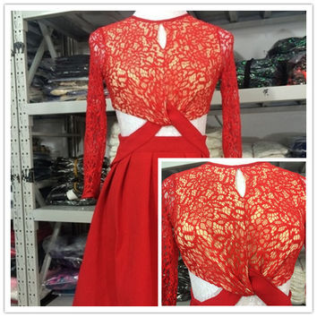 2015 Autumn/Winter Vogue Collection Three Floor Three Quarter Lace Sleeve Bare Midriff Sexy Dress Free Shipping