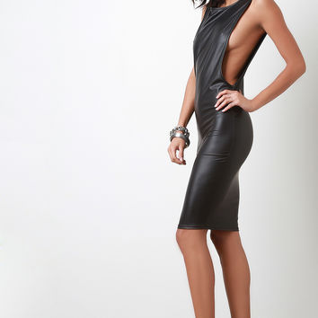 Side Cutout Vegan Leather Bodycon Dress
