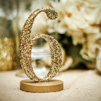 Glitter Table Numbers Gold or Silver Glittery Table Numbers for Wedding Reception Vintage Decor (Item - GLI120)