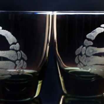 skeleton hands smoke glass tumblers, custom barware , bar set , man cave, gifts for him or her