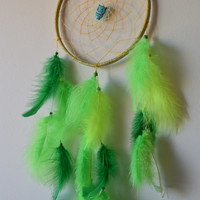 """8"""" Dream catcher  Large, Green Lime Dreamcatcher, Owl  Dream Catcher with Turquoise stone, Marabou feathers, Boho Wall Hanging Decor."""