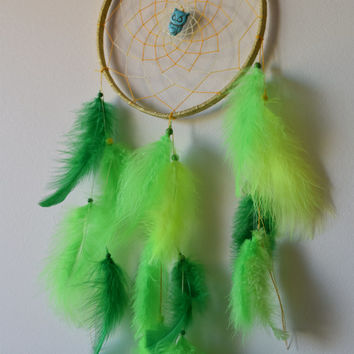 "8"" Dream catcher  Large, Green Lime Dreamcatcher, Owl  Dream Catcher with Turquoise stone, Marabou feathers, Boho Wall Hanging Decor."
