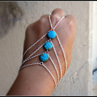 silver slave bracelet turquoise triangle  by alapopjewelry on Etsy