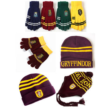 Harry Touch Gloves Hat Earmuffs Cap Gryffindor/Slytherin/Hufflepuff/Ravenclaw Gloves  for harry potter cosplay