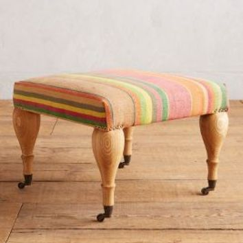 Cotton Dhurrie Trinette Ottoman by Anthropologie