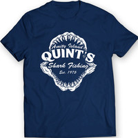 Quint's Shark Jaws Fishing Amity Island  70's Movie T-Shirt