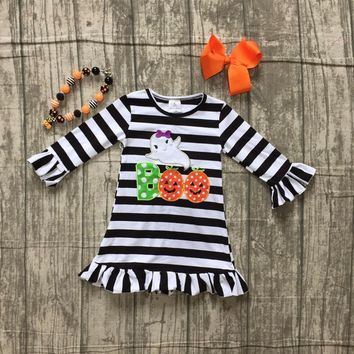 baby girls Fall dress Halloween dress children girls black stripes Boo with ghost dress children boutique dress with accessories