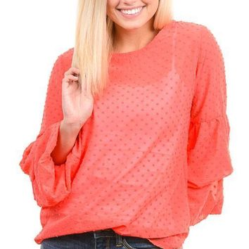 Coral Tiered Bubble Sleeve Blouse
