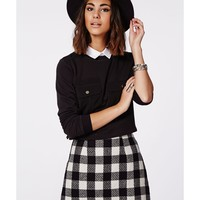 Missguided - Ellie Wool Check A-Line Skirt Monochrome