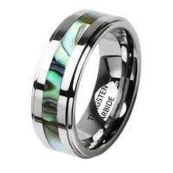 8mm Abalone Shell Inlay Tungsten Carbide Band Step Bevel Edge Wedding Ring Band