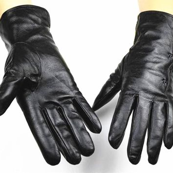 2017 Top Fashion Eldiven Winter Gloves New Female Points Finger Leather Gloves Lining Sheepskin Autumn And Winter Free Shipping