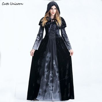 Women Halloween Cosplay Costume medieval Renaissance adult witch Gothic queen of vampire black Fancy Dress Girls Outfit