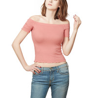 LE3NO Womens Lightweight Ribbed Knit Scoop Neck Off Shoulder Top