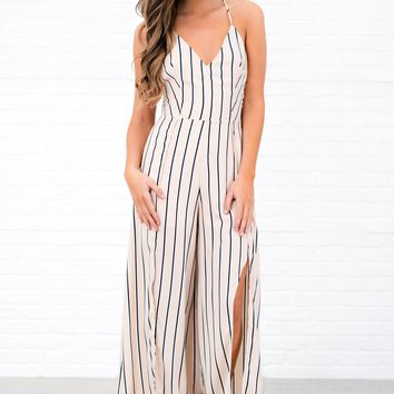 Head Turner Striped Jumpsuit (Tan)
