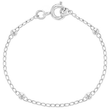 """Silver Plated Thin Ball Chain Baby Bracelets for Girl 4.5"""""""