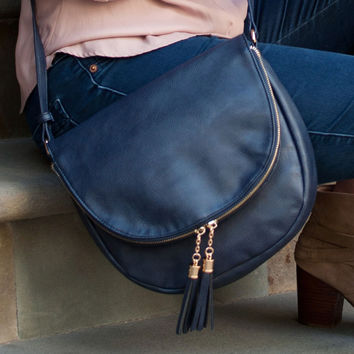 Navy Sienna Tassel Bag