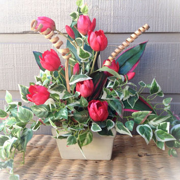 Handmade Artificial Floral Arrangement: Pink Tulip and Vines With Wooden Accents in Ceramic Pot
