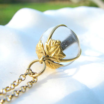 Antique Pools of Light Pendant Necklace, Lovely 18K Gold Leafy Setting, Natural Rock Crystal Quartz, Pretty Gold Chain, Elegant and Unusual