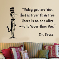 Dr Seuss Cat in the Hat Today you are you wall phrase word saying vinyl decal 15x23.5