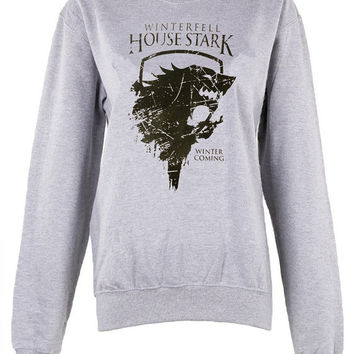 House of Stark crew neck Sweatshirt shirt unisex womens mens ladies  print sweatshirt  pullover oversized jumper winterfell winter is coming