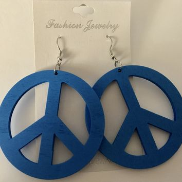 Blue Boho Wood Peace Sign Hippie Earrings