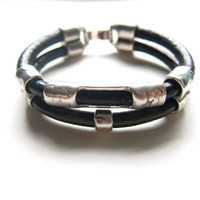 Unisex Black and Gunmetal Grey  Silver Leather  Bracelet with Silver Sliders   Men's Gift, For Him Manly Men's Jewelry Black Leather