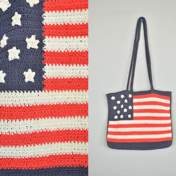 vintage 1980s CROCHETED bohemian hippie festival USA american FLAG shoulder bag purse