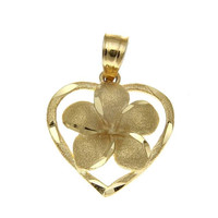 SOLID 14K YELLOW GOLD HAWAIIAN PLUMERIA FLOWER DIAMOND CUT HEART PENDANT 15MM