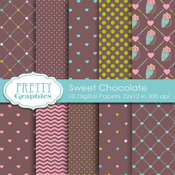 DIGITAL PAPERS - Sweet Chocolate - Commercial Use - Instant Downloads - 12x12 JPG Files - Scrapbook Papers - High Quality 300 dpi
