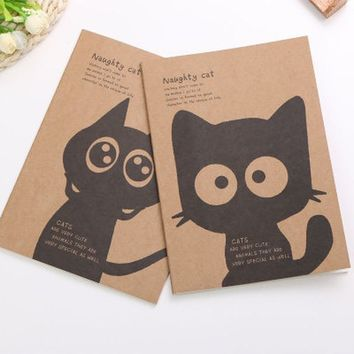 cat vintage Painting Cover  Notebook Night Glowing Blank Pages Sketchbook Book Note Book Journal DIY