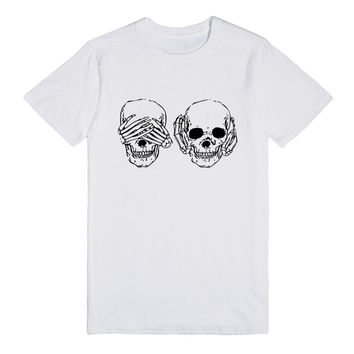 Cool Skull See Hear No Evil See No Evil T-Shirt