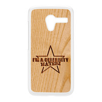 Carved on Wood Effect_Celebrity Hater White Hard Plastic Case for Moto X by Chargrilled